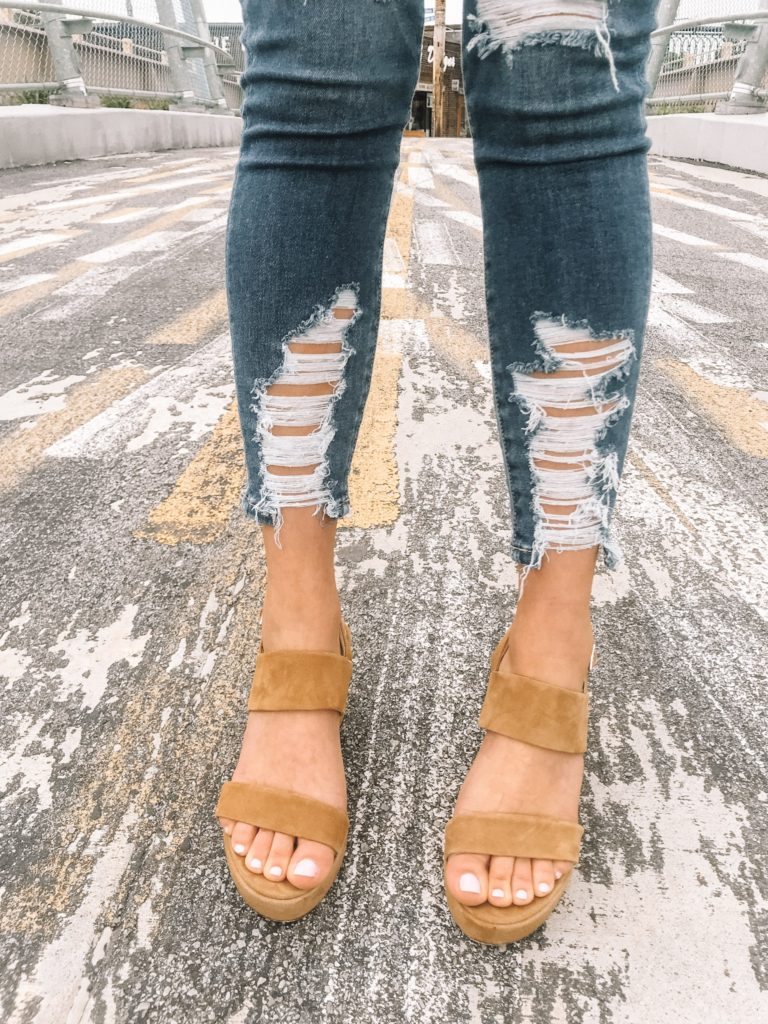 bc604995b15 So these sandals are my absolute new favorite shoes ever! These are the Steve  Madden Reba sandals in the tan suede color. They have a 3 inch heel with a  1 ...